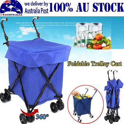 Bright Blue Shopping Carts Trolley Bag Box Foldable Bags Luggage Wheels Basket P