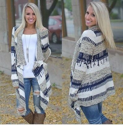 Women's Ladies Knitted Open Jumpers Long Sleeve Cardigan Shawl Sweater Coat Tops