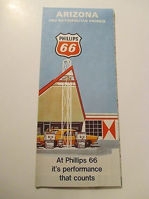1969 PHILLIPS 66 ARIZONA Oil Gas Service Station Road Map