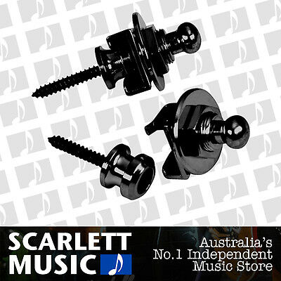 Schaller GENUINE Black Strap Locks Set For Guitar/Bass *BRAND NEW*