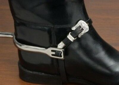EquiRoyal Silver Buckle Leather Spur Straps - Black. JT. Brand New