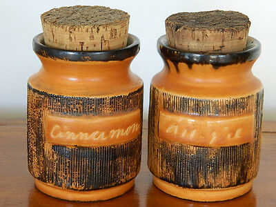 Vintage ELLIS Pottery - Two Cork Lidded Orange Containers with Incised Pattern