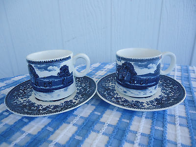 2 vintage blue & white china cups & saucers japan