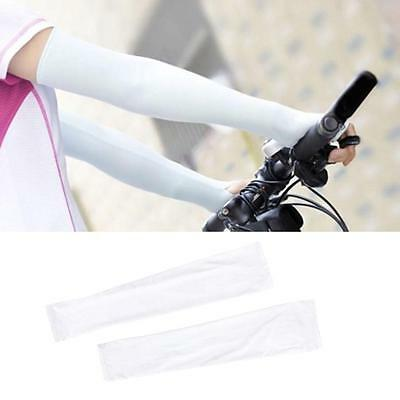 1 Pair Arm Cooling Sleeves Gloves Sun Protection Cover Driving Fishing White FA