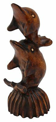 Today Sale - Small Wooden 2 Dolphins Statue Antique Sculpture Marine Life...