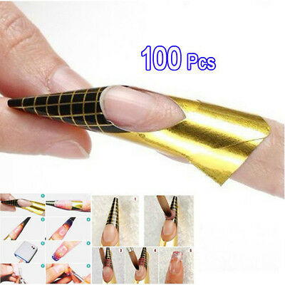 100PCS Golden Nail Art Tips Extension Forms Guide French Acrylic UV Gel DIY Tool