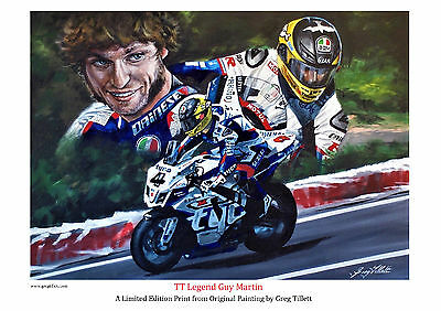 GUY MARTIN limited edition print signed by artist Greg Tillett TT MOTOGP