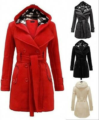 New Fashion Winter Warm Women's Ladies Hooded Belted Fleece Jacket Coat Overcoat