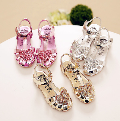 Girls Baby Sequins Heart Princess Shoes Party Dress Kid Summer Flat Heels Shoes