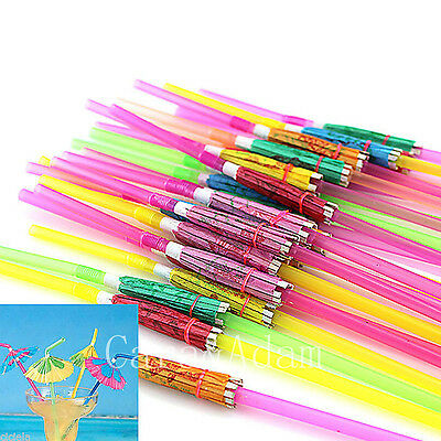 10pcs Umbrella Parasol Drinking Straw Disposable Hula Beach Party Cocktail