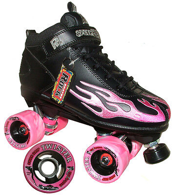 "SURE-GRIP ""Rock Flame"" Quad Roller Skates Size 8 UK BLACK PINK SALE Roller Derby"