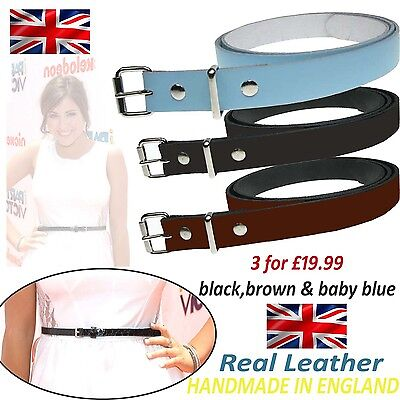Ladies 20mm Ladies Set Offer Real Leather Fashion Waist Belt Made In England