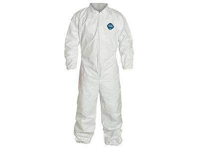 Lot of 3 DuPont Tyvek TY125S Disposable Coverall, Elastic Cuff,White,Size:Medium