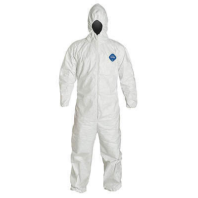 Lot of 2 DuPont Tyvek TY127S, Hooded Disposable Coverall, Elastic Cuff, Small