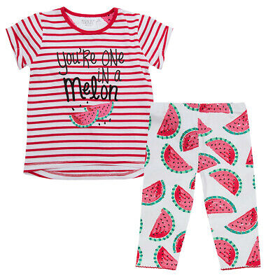 Girls Childrens 2 Piece T-Shirt Legging Top Outfit Set Novelty Stripe Summer