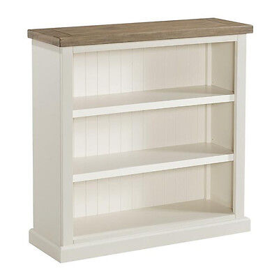 St Ives Painted Small Bookcase / Linen White Low Bookshelf / Solid Wood Ash Top