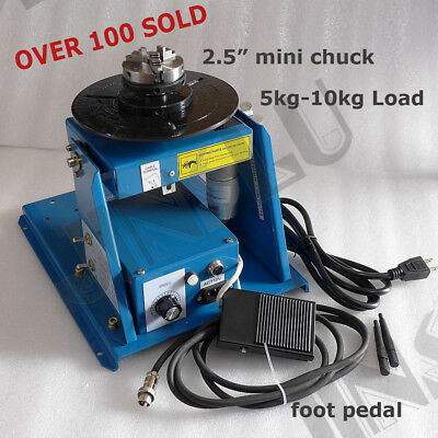 "220V Rotary Welding Positioner Turntable Mini 2.5"" 3 Jaw Lathe Chuck with Video"