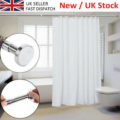 Adjusatble Shower Curtain Rail Extendable 125-220cm Pole Rod Bath No Tool Requir