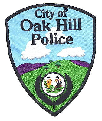 OAK HILL WEST VIRGINIA WV Police Patch STATE SEAL CLOUDS MOUNTAINS ~