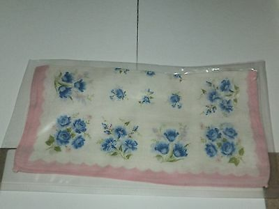 Vintage Womens Blue Floral Pink Edge Cotton Handerkerchief 11x11