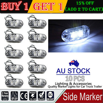 10X White Side Marker Light Rear LED Clearence Lamp Indicators Truck Trailer Car