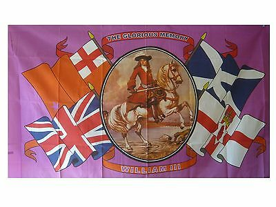 in glorious memory king William III  house flag   5 x 3 loyalist ulster scots