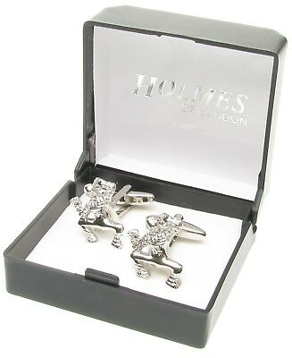Novelty Cufflinks Ferrari Horse Equestrian Onyx Mens Xmas Free Giftbox New Uk