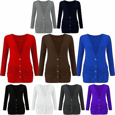 New Ladies Ruched Boyfriend Cardigan With Button & Pockets Jumper TOP BF UK 8-26
