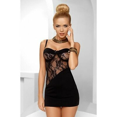 Avanua Tiffany Hugging Mini Dress Chemise Thong Set  Black  Uk Size 8-20