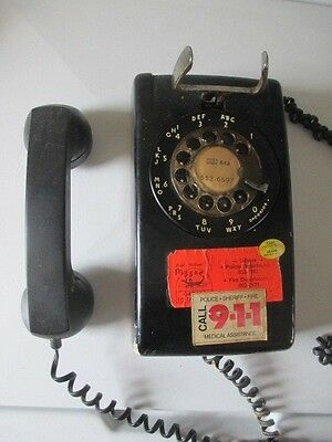 Vintage Black Rotary dial wall mount phone western electric bell 554 telephone