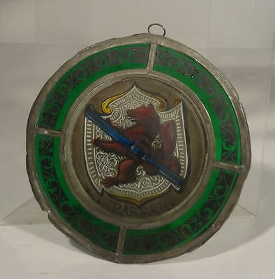 Antique European Stained Glass Family Crest Passau Germany Roundel