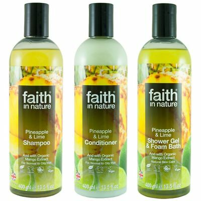 Faith In Nature Pineapple & Lime Shampoo, Conidtioner & Shower Gel Trio