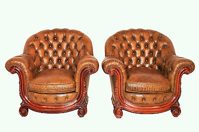 BEAUTIFUL Antique Italian Baroque Pair of Leather Chairs with Wood Trim