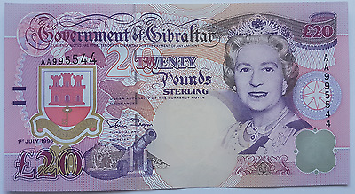 1995 Gibraltar 20 Pound Banknote UNC Pounds Uncirculated