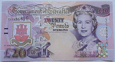 2004 Gibraltar 20 Pound Banknote UNC Pounds Uncirculated