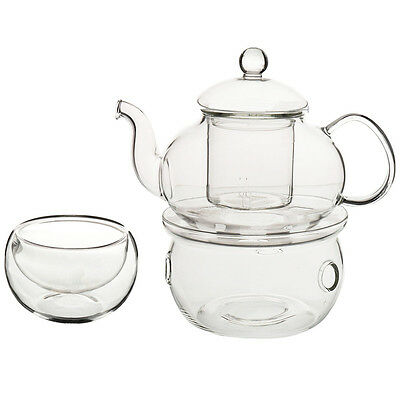 Set of Heat-resistant Glass Teapot with Strainer Flowers Flower Gift 600mL Q9A4
