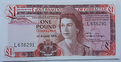 1988 Gibraltar 1 Pound Banknote UNC Pounds Uncirculated