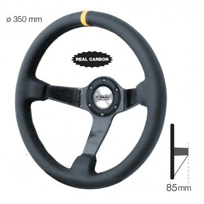 VOLANTE a Calice Real Carbon modello COLIN Nero Camoscio 350 mm Simoni Racing