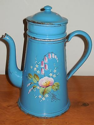 RARE Antique French Enameled Biggin Coffee Pot - handmade enameled and signed