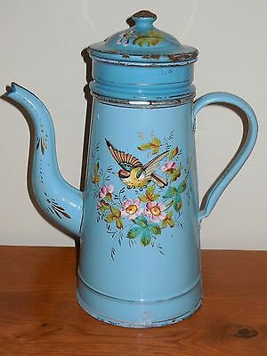 Antique French Enameled Biggin Coffee Pot - handmade enameled BIRD & BUTTERFLY