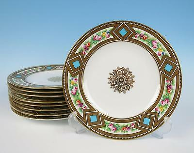 "Set 9 Antique English Porcelain Handpainted 9"" Plates Coalport Copeland Dinner"