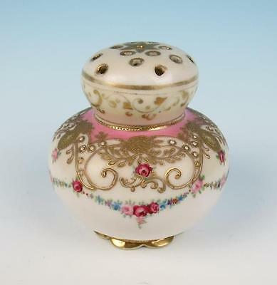 Antique Nippon Hand Painted Porcelain Muffineer Sugar Shaker Roses Beaded Gold