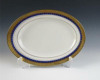 "Rosenthal Aida Royal Blue & Gold Encrusted Oval 11.25"" Serving Platter Porcelain"