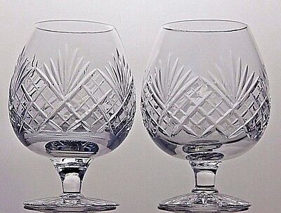 "Webb Corbett Crystal ""juno"" Cut Glass Brandy Glasses Balloons Goblets Set Of 2"