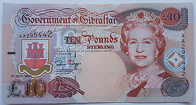 1995 Gibraltar 10 Pound Banknote UNC Pounds Uncirculated