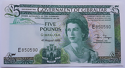 1988 Gibraltar 5 Pound Banknote UNC Pounds Uncirculated