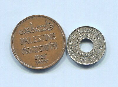 Palestine - Two Beautiful Historical 1927 Coins: 2 Mils & 5 Mils