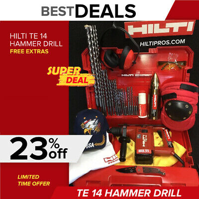 Hilti Te 14 Hammer Drill, Preowned, Free Thermo, Bits,plus Extras, Quick Ship