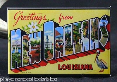 """Greetings from New Orleans Vintage Postcard 2"""" X 3"""" Fridge Magnet. Louisiana"""
