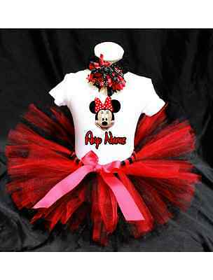 Minnie Mouse Red Bow Tutu Outfit Birthday Custom Any Name